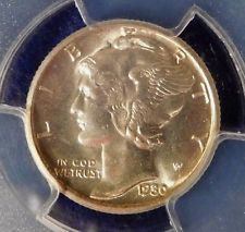 1930S RARE GEM Mercury Dime PCGS MS-64 W/ MIRRORED FINISH & TONED