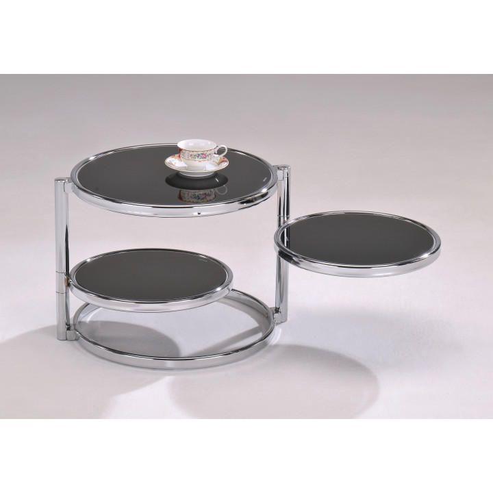 MOIRA - konferenčný stolík, chróm/čierne sklo, Tempo Kondela