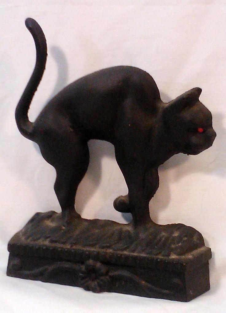 Vintage Black Cat Iron Door Stop The Elegant Witch