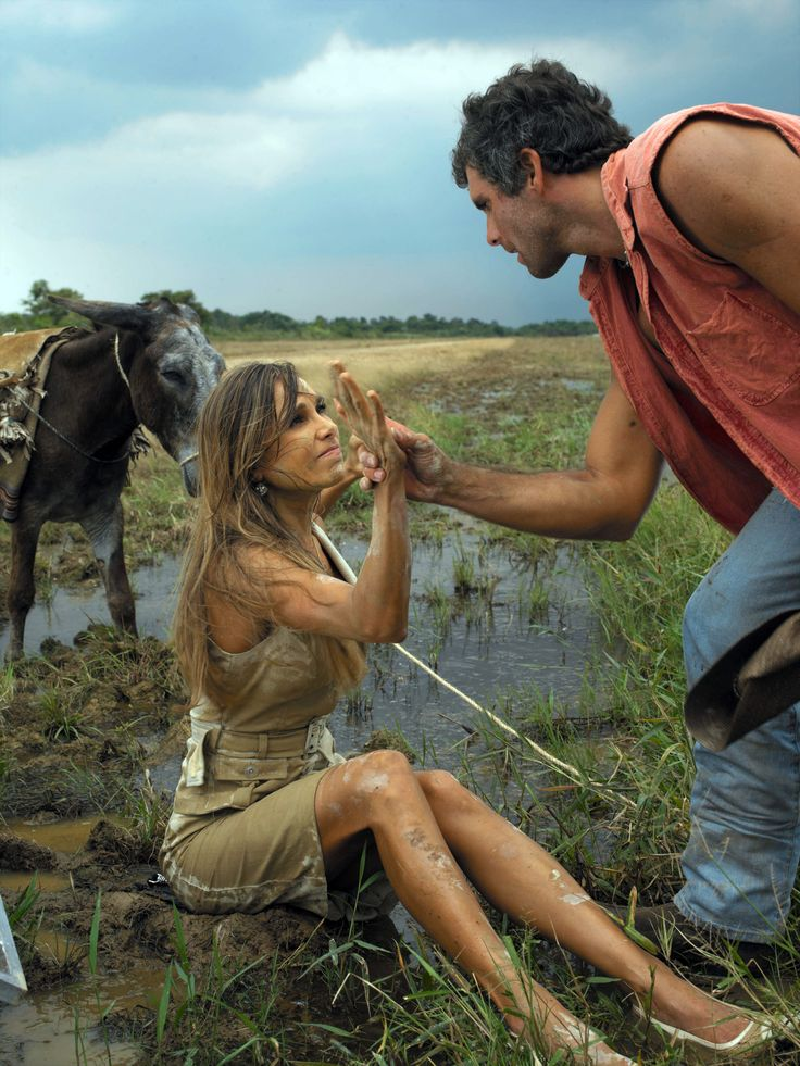 Espectacular foto de Christian Meier y Natalia Streignard en el rodaje de La Tormenta