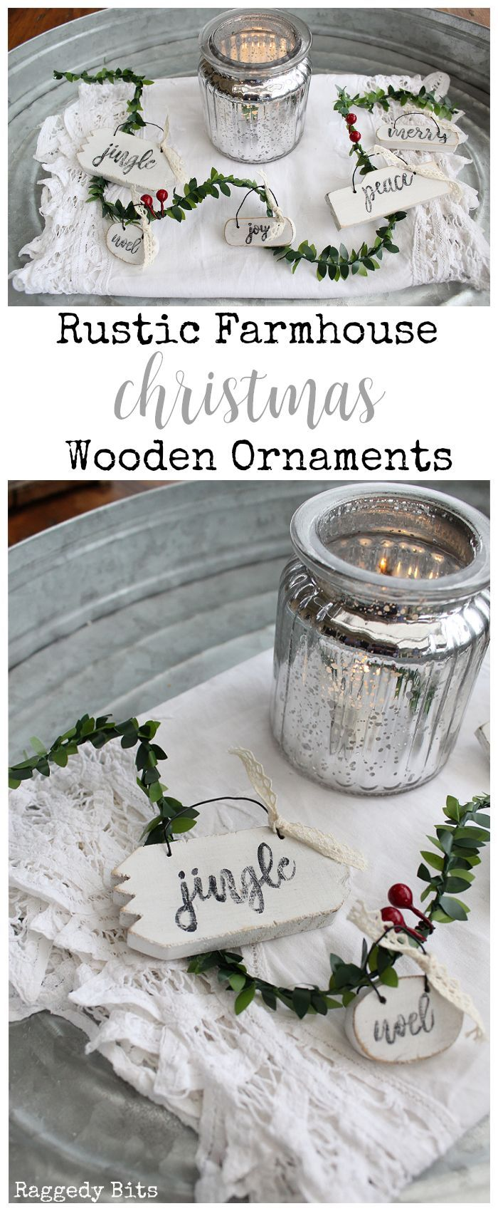 With Christmas just around the corner sharing some fun Rustic Farmhouse Wooden Christmas Ornaments to make | 2017 Ornament Exchange | www.raggedy-bits.com | #christmas #ornaments #DIY #rustic #farmhouse #wood