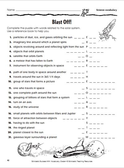 Worksheets Science Worksheets 8th Grade 15 best images about parents 6th 8th grade printables on blast off activity page science vocabularyscience worksheetsvocabulary