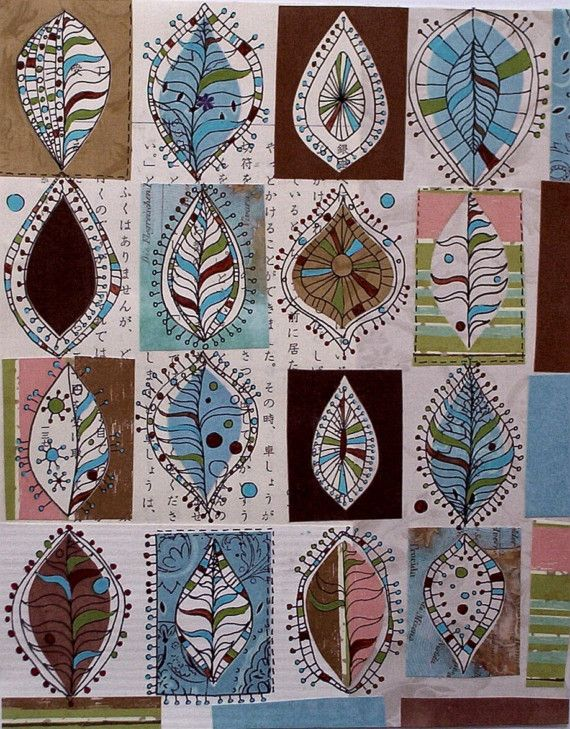 Sixteen Leaves - print of mixed media collage from Orange Tree Cottage http://www.etsy.com/shop/orangetreecottage/ #art