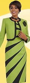 Ben Marc Executive 11629 Pointed Stripe Dress & Jacket Set With Fabric Flower