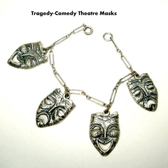 Tragedy Comedy Theater Masks Charm Bracelet by VintageStarrBeads