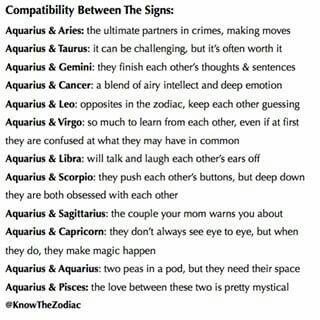 Aquarius Compatability ♡   #Aquarius                                                                                                                                                     More