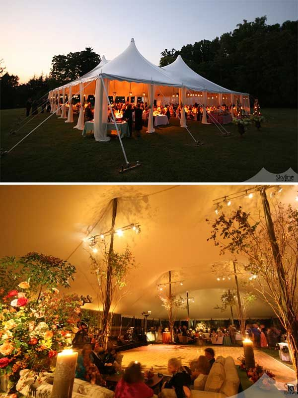 Outdoor evening tent set up