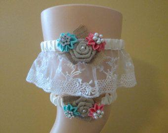 Coral & Aqua Blue Wedding Garter Set, Teal and Coral Garters, Ivory Lace Garter, Rustic Garter, Something Blue, Country Bride