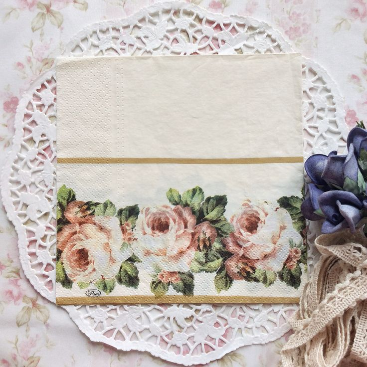 Napkin Papers Serviettens Decoupage Tissue  Roses Cream 33x33 cm (1/4 folded)  IDR 15.000/pc Send me your inquiry to yufihandcrafted@gmail.com   Shabby Chic Victorian Cottage Vintage Retro Rose Floral Flower Paper Napkins   And get a special discount on bulk order!