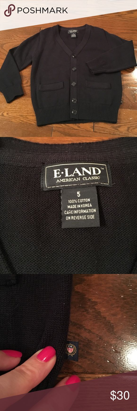 E-Land cardigan in black, boys 5 NWOT Adorable cardigan with two pockets NWOT E Land Shirts & Tops Sweaters