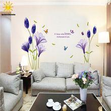 Nové módní fialové tulipány květiny nástěnné samolepky pro přijímací pokoj DIY 3D Wall Sticker Home Decor adesivo de Parede (Čína (pevninská část))