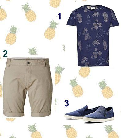 Estampados tropicales para el verano. Look hombre: bermudas Selected, camiseta estampado palmeras y zapatillas Jack&Jones