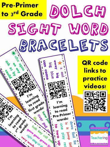 Dolch Sight Word Bracelets with QR codes for home practice and sight word remediation! Parents scan the QR code to view a Dolch sight word review video! Includes all 242 Dolch words from Pre-Primer to 3rd Grade--perfect for differentiating sight word practice to fit different reading levels. Several different bracelets for each Dolch list, so students stay engaged with the high frequency word videos! All the sight words are listed on each paper band, so no more lost flashcards!