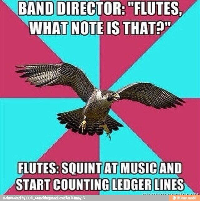 Ah, the junior high flutes... I'm that one flute that always has to tell them the note fingerings...