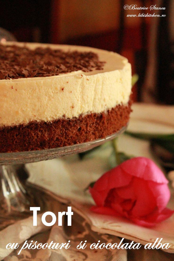 Tort cu piscoturi si ciocolata alba | Bibi's Kitchen