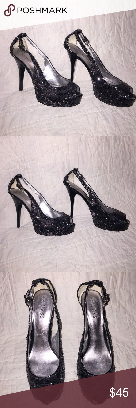 Guess bling heels. Beautiful UEC Guess Bling Heels. Peep toe. One small fracture as seen in picture, discounted. Guess Shoes Heels