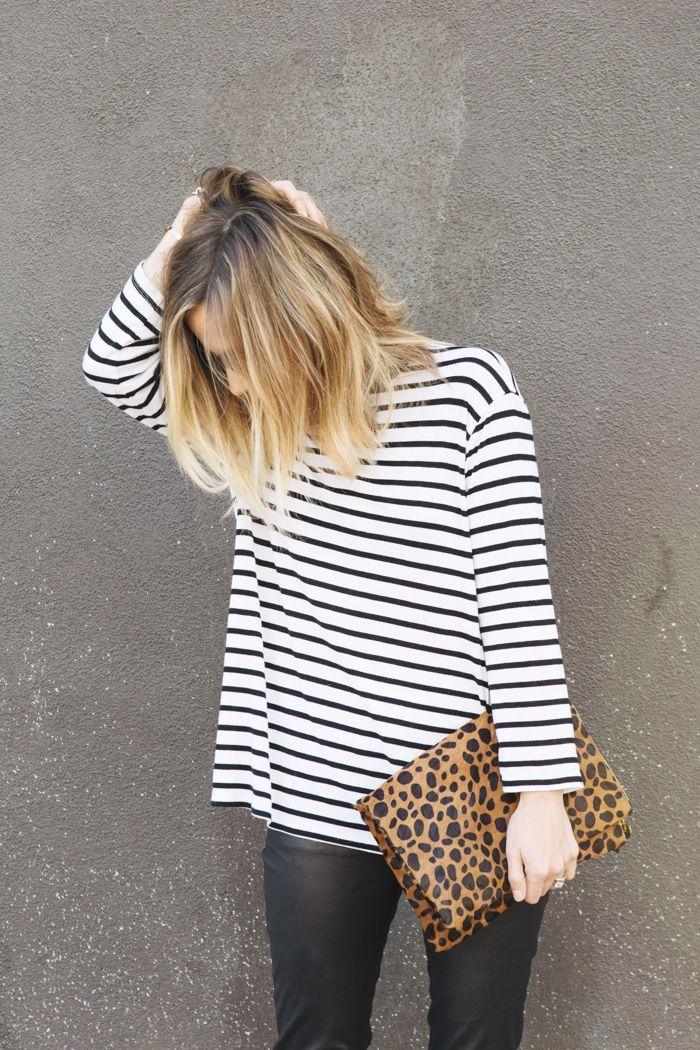 breton shirt + leopard print clutch