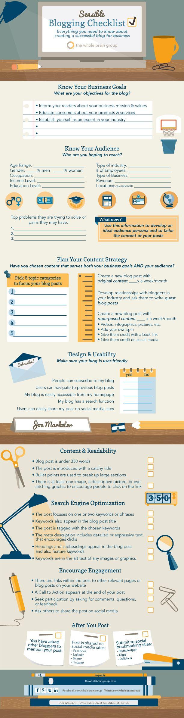 #Blogging Checklist [INFOGRAPHIC] - A sensible blogging checklist for successful business blogs.