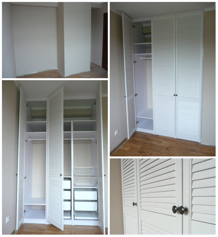 Wnękę w ścianie wypełniliśmy piękną,białą szafą.