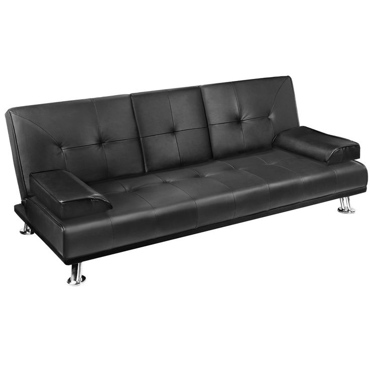 Faux Leather Sofa Bed (Black) - FREE SHIPPING AUSTRALIA WIDE
