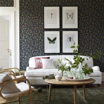 Kerstin wallpaper - black - Sandberg Tyg & Tapet