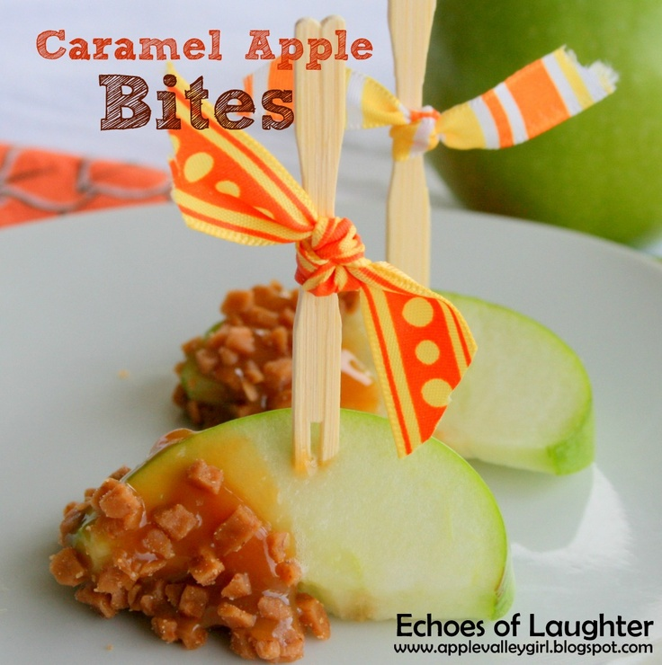 Echoes of Laughter: Caramel Apple Bites... (soak apple slices in diluted lemon juice to prevent browning, dip end in thick caramel, toffee bits)