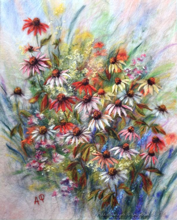 Gallery.ru / Фото #33 - Натюрморт, цветы - картины шерстью - Alexandra-Fedorova
