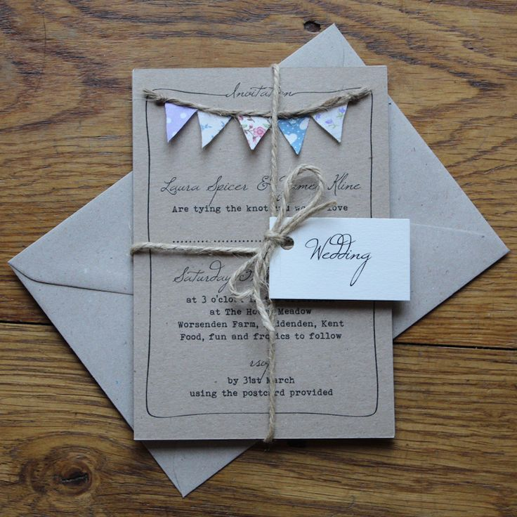 wedding invitations unique diy%0A Unique design with real fabric bunting  simpler printed bunting wedding  invitations also available