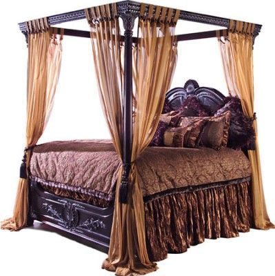 528 best images about tuscan decor on pinterest canister - Black canopy bed curtains ...