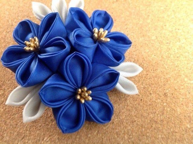 青い三輪桔梗ヘアクリップの画像5枚目