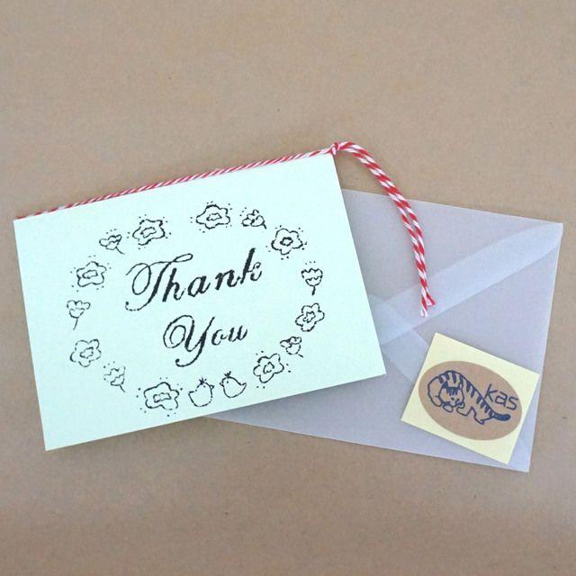 ハンドメイドマーケット minne(ミンネ)  ガリ版印刷グリーティングカード「Thank You」(シャーベットグリーン)