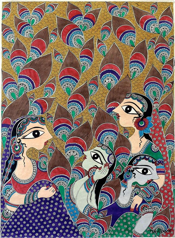 """Radha and Gopi"" by bharti dayal  #madhubani, #walldecor, #bhartidayal, #artwork, pepupstreet.com"