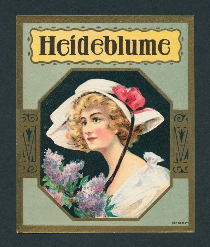 """Board """"Art-Seductive Women of Cigars Labels. - Vintage german girl Heidi with a beautiful white hat. - For Heide Blume Cigars. - An original antique cigar box label art from American Antique Graphics Society. -"""