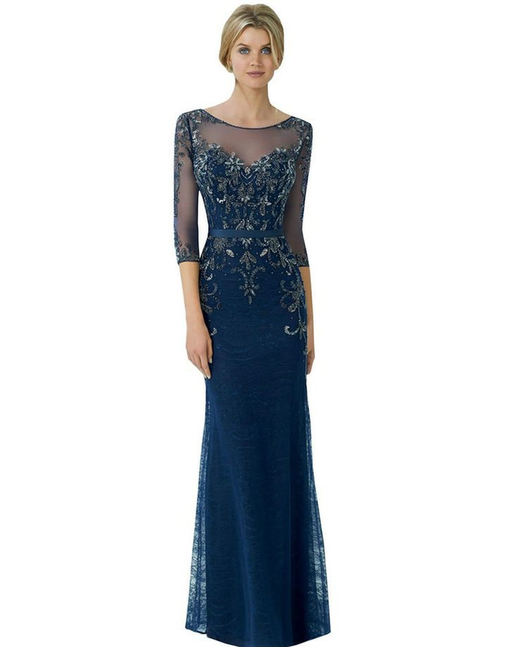 Pewter Navy Blue Dresses Mother Of The Groom With Sleeves Long Bride Suit Illusion