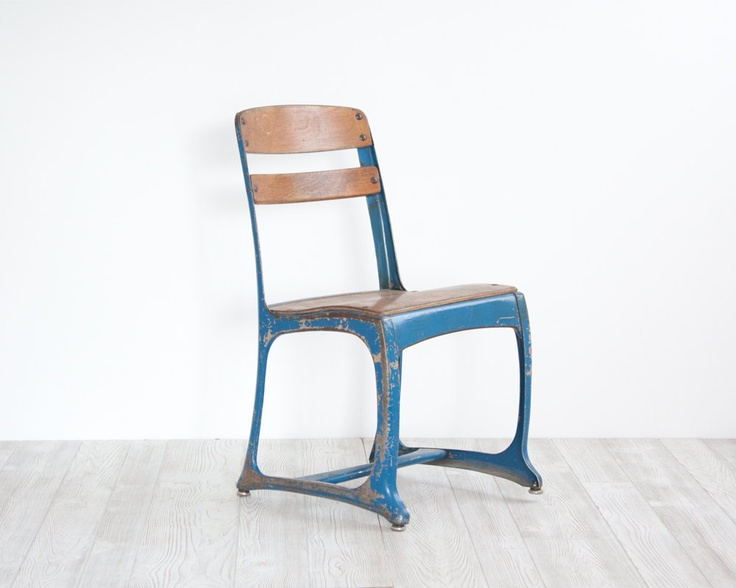 Industrial Children's School Chair.  via Etsy.  If I could find enough of these in the larger adult size they would be perfect.
