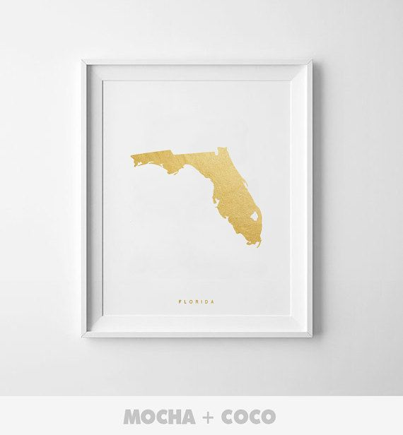 Florida Gold Map Print US State PosterState Map by MochaAndCoco