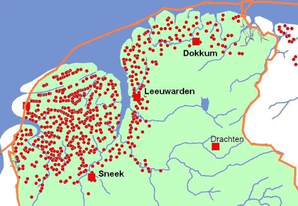 Friese terpen (955 in totaal)