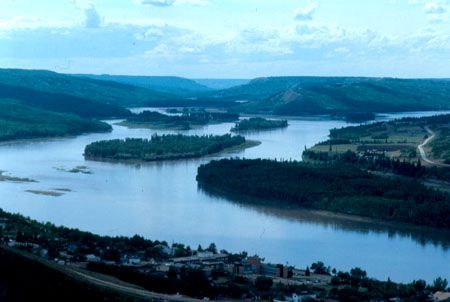Peace River, Alberta. To the left is the Smokey River and to the right, the Peace,  where two great rivers meet.  It was here that Alexander Mackenzie set up Fort Fork on his way to the Pacific Ocean for the North West Co. in 1793.
