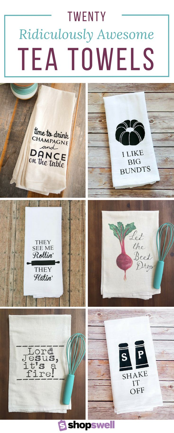 Kitchen towel hanging ideas - 20 Ridiculously Awesome Tea Towels