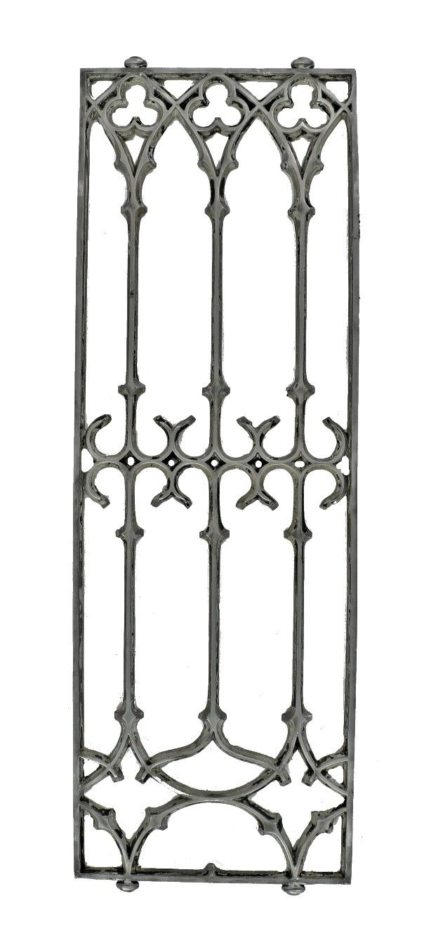 remarkably rare 19th century american jenney-designed isabella building cast aluminum gothic style interior lobby elevator grille or panel