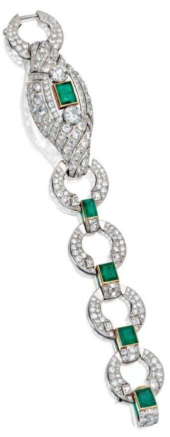 An Art Deco Platinum Gold Emerald And Diamond Bracelet Cartier London