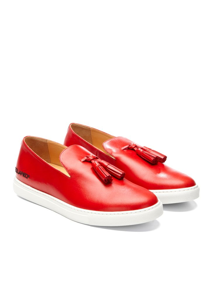 DSQUARED  Red Tassled Loafer Sneakers, Men's Spring Summer Fashion.