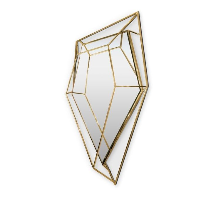 Inspired by asymmetrical and dazzling shapes of a Diamond rock, this five-sided polygon mirror is the ultimate combination of geometry and design. The use of a polished brass structure enhances the luxurious element within this object resulting in a sophisticated dynamic piece that stands out in any ambiance.