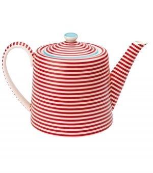 Red and white striped teapot, also could be used for a pot of Hot chocolate eh? @Rebekah Holmes