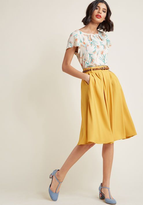 af32a94fc Breathtaking Tiger Lilies Midi Skirt in 2019 | Modern style | Yellow ...