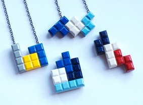 Tetrominoes pendants and brooches