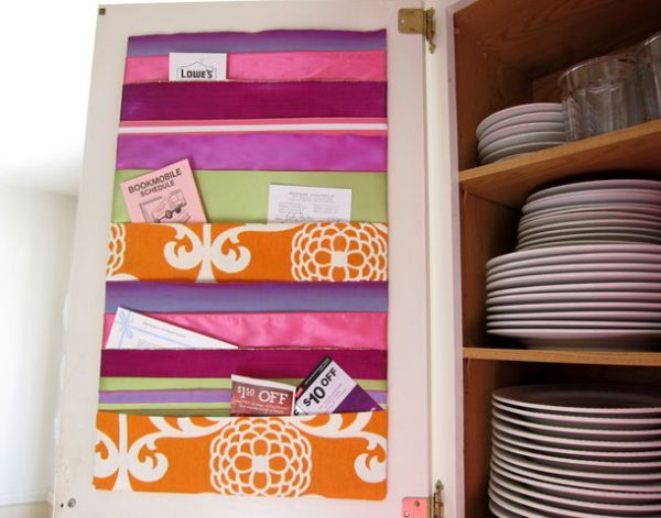 make a ribbon memo board. You need foam board, ribbons, tape, duct tape and sticky back velcro dots. Cut the board to size and figure out how you want the ribbons lined up. Wrap the ends around the back of the board and secure them with tape. Add the velcro dots on the corners and hang the memo board.{found on momtastic}.