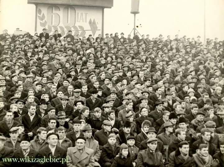 Zagłębie Sosnowiec fans watch their team play in 1966, hats, hats everywhere