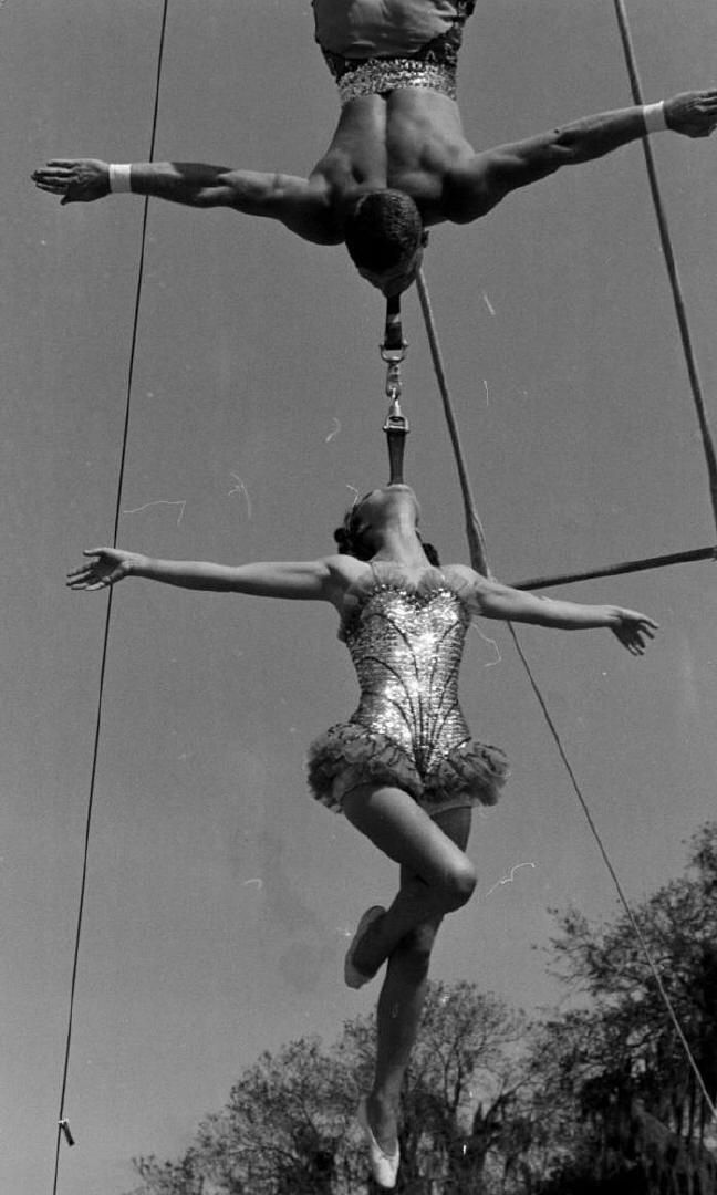 theniftyfifties:  Circus performers, 1950s.