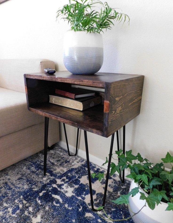 Best Industrial Nightstand Modern End Table Hairpin Leg 640 x 480